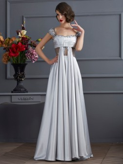 A-Line/Princess Off the Shoulder Sleeveless Pleats Floor-Length Elastic Woven Satin Dresses