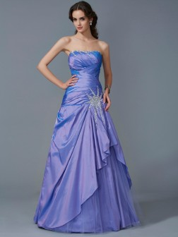 Trumpet/Mermaid Strapless Sleeveless Beading Floor-Length Taffeta Dresses