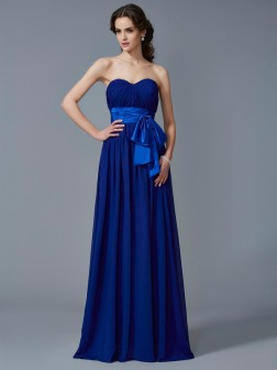 A-Line/Princess Sweetheart Sleeveless Pleats Floor-Length Chiffon Dresses