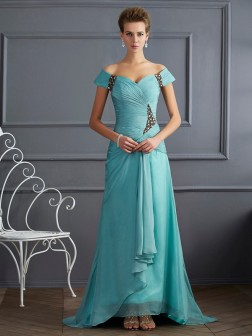 A-Line/Princess Off the Shoulder Sleeveless Beading Sweep/Brush Train Chiffon Dresses