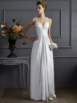 A-Line/Princess Straps Sleeveless Beading Floor-Length Silk like Satin Dresses