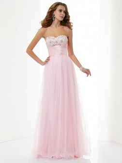 A-Line/Princess Sweetheart Sleeveless Beading Floor-Length Elastic Woven Satin Dresses