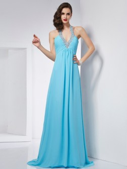 A-Line/Princess Halter Sleeveless Sweep/Brush Train Chiffon Dresses