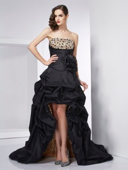 A-Line/Princess Strapless Sleeveless Beading Asymmetrical Taffeta Dresses