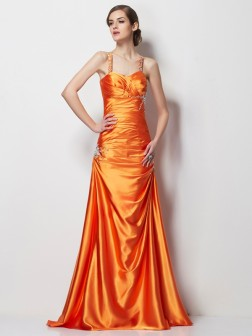 A-Line/Princess Spaghetti Straps Sleeveless Beading Sweep/Brush Train Elastic Woven Satin Dresses