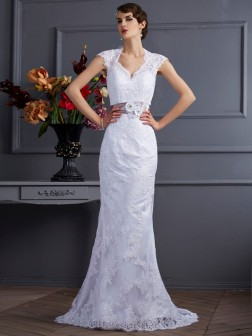 Trumpet/Mermaid Sleeveless Applique Sweep/Brush Train Satin Wedding Dresses