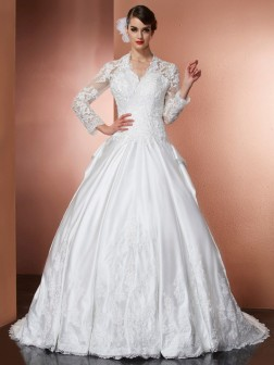 A-Line/Princess V-neck Long Sleeves Applique Cathedral Train Satin Wedding Dresses