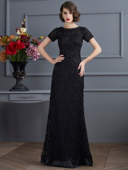 Sheath/Column High Neck Short Sleeves Lace Floor-Length Elastic Woven Satin Dresses