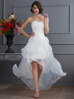 A-Line/Princess Sweetheart Sleeveless Beading Asymmetrical Organza Wedding Dresses