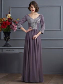 Sheath/Column V-neck 3/4 Sleeves Beading Floor-Length Chiffon Dresses