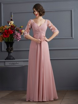 A-Line/Princess Sweetheart 1/2 Sleeves Beading Floor-Length Chiffon Dresses