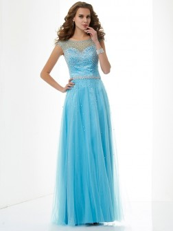 Sheath/Column High Neck Sleeveless Beading Floor-Length Net Dresses
