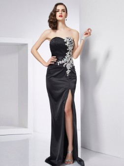 Trumpet/Mermaid Sweetheart Sleeveless Beading Sweep/Brush Train Elastic Woven Satin Dresses