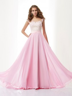 A-Line/Princess Straps Applique Sleeveless Beading Sweep/Brush Train Chiffon Dresses