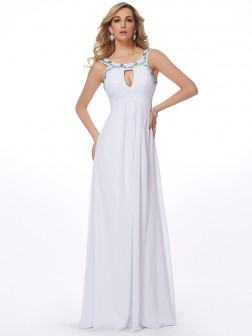 Sheath/Column Scoop Sleeveless Beading Sweep/Brush Train Chiffon Dresses