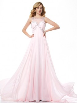 A-Line/Princess Scoop Sleeveless Beading Sweep/Brush Train Chiffon Dresses