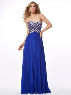 A-Line/Princess Sweetheart Sleeveless Floor-Length Chiffon Dresses