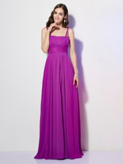 Sheath/Column Spaghetti Straps Sleeveless Pleats Floor-Length Chiffon Dresses