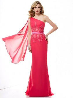 Sheath/Column One-Shoulder Applique Sleeveless Beading Sweep/Brush Train Chiffon Dresses