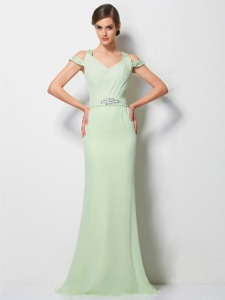 A-Line/Princess V-neck Sleeveless Beading Sweep/Brush Train Chiffon Dresses