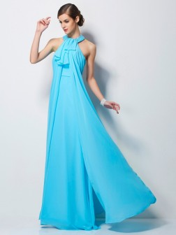 Sheath/Column Halter Sleeveless Beading Floor-Length Chiffon Dresses