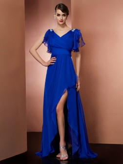 A-Line/Princess V-neck Sleeveless Beading Asymmetrical Chiffon Dresses