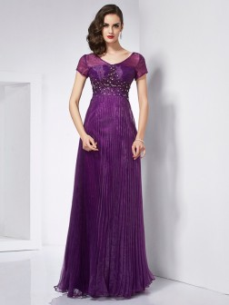 A-Line/Princess V-neck Short Sleeves Beading Floor-Length Organza Dresses