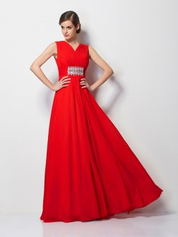 Sheath/Column V-neck Short Sleeves Beading Floor-Length Chiffon Dresses