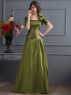 A-Line/Princess Strapless Sleeveless Beading Floor-Length Taffeta Dresses