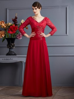 Sheath/Column V-neck 3/4 Sleeves Lace Floor-Length Chiffon Dresses