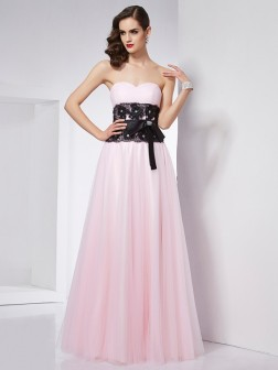 A-Line/Princess Sweetheart Sleeveless Lace Floor-Length Net Dresses