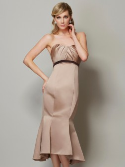 Sheath/Column Strapless Sleeveless Sash/Ribbon/Belt Tea-Length Satin Dresses