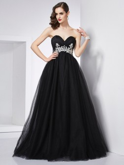 Ball Gown Sweetheart Sleeveless Applique Floor-Length Net Dresses