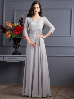 A-Line/Princess V-neck 3/4 Sleeves Applique Floor-Length Chiffon Dresses