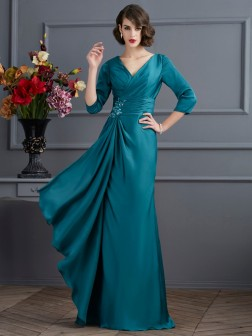 A-Line/Princess V-neck 3/4 Sleeves Beading Floor-Length Chiffon Dresses