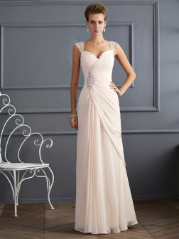 Sheath/Column Straps Sleeveless Beading Floor-Length Chiffon Dresses
