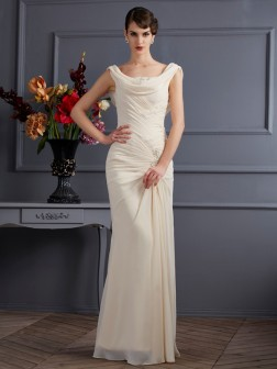 Sheath/Column Scoop Sleeveless Beading Floor-Length Chiffon Dresses