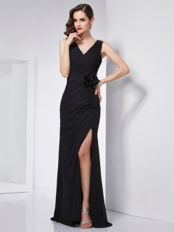 Sheath/Column V-neck Sleeveless Beading Floor-Length Chiffon Dresses