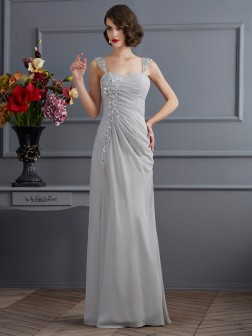 Trumpet/Mermaid Straps Sleeveless Beading Floor-Length Chiffon Dresses
