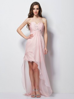 A-Line/Princess Sweetheart Sleeveless Beading Applique Asymmetrical Chiffon Dresses