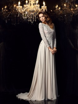 A-Line/Princess Scoop Beading Long Sleeves Court Train Chiffon Dresses
