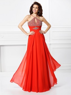 A-Line/Princess Beading Sleeveless Floor-Length Chiffon Dresses
