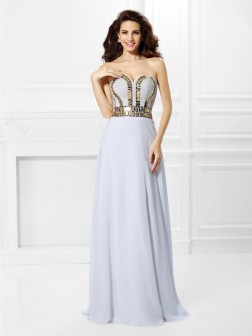 Empire Sweetheart Pleats Sleeveless Floor-Length Chiffon Dresses