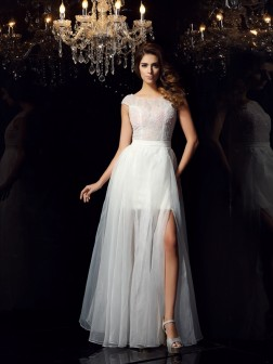 A-Line/Princess Scoop Beading Short Sleeves Floor-Length Tulle Dresses