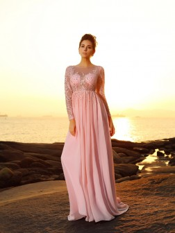 A-Line/Princess Bateau Beading Long Sleeves Sweep/Brush Train Chiffon Dresses