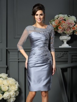 Sheath/Column Scoop Beading 1/2 Sleeves Knee-Length Satin Mother of the Bride Dresses