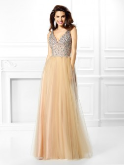 Ball Gown V-neck Beading Sleeveless Floor-Length Satin Dresses