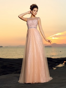 A-Line/Princess Bateau Lace Sleeveless Floor-Length Chiffon Dresses