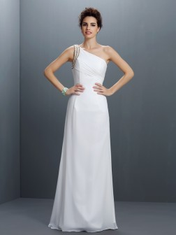 Sheath/Column One-Shoulder Beading Sleeveless Floor-Length Chiffon Dresses