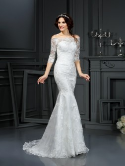 Sheath/Column Off-the-Shoulder Lace 1/2 Sleeves Sweep/Brush Train Lace Wedding Dresses